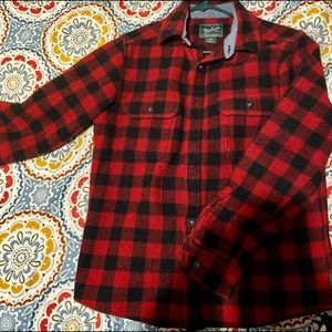 Black and red checker wool button up